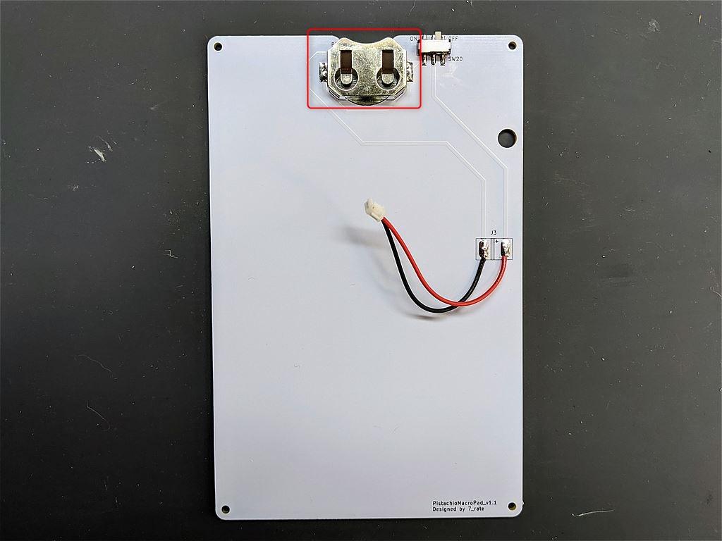 コイン電池ホルダーの取り付け位置